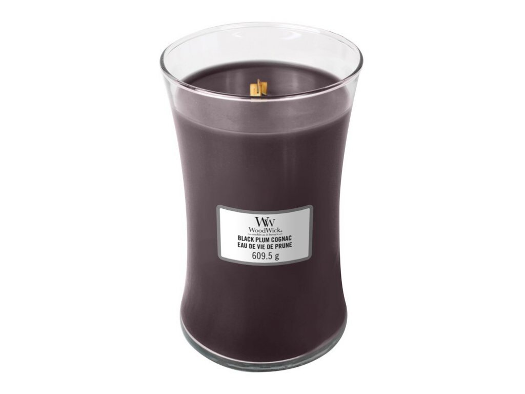 Woodwick Black Plum Cognac 610g  svíčka s vůní švestkového koňaku
