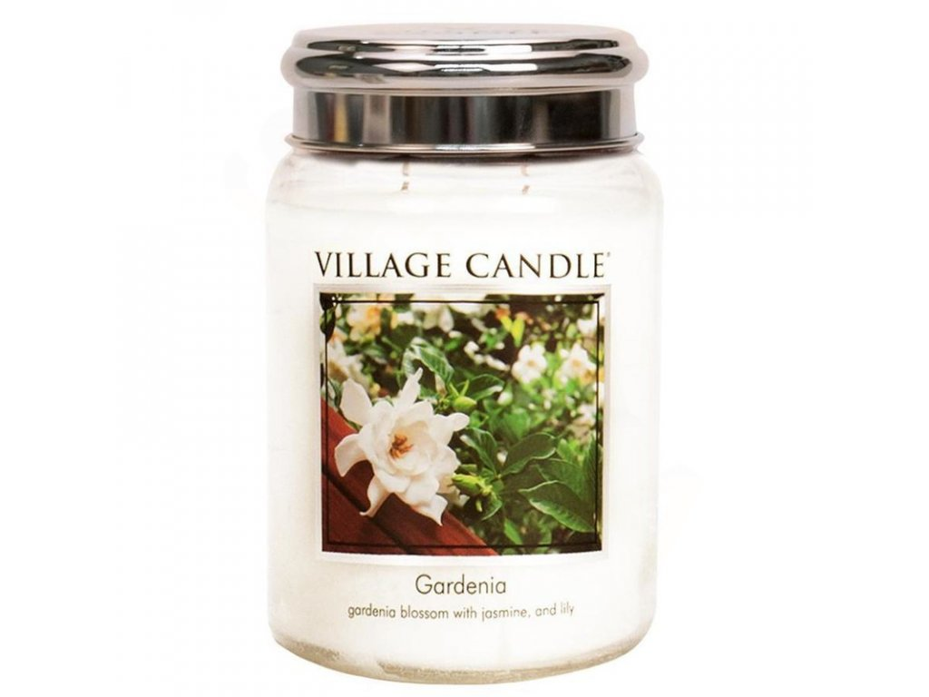 velka vonna svicka ve skle village candle gardenia gardenie plechove vicko 800x800