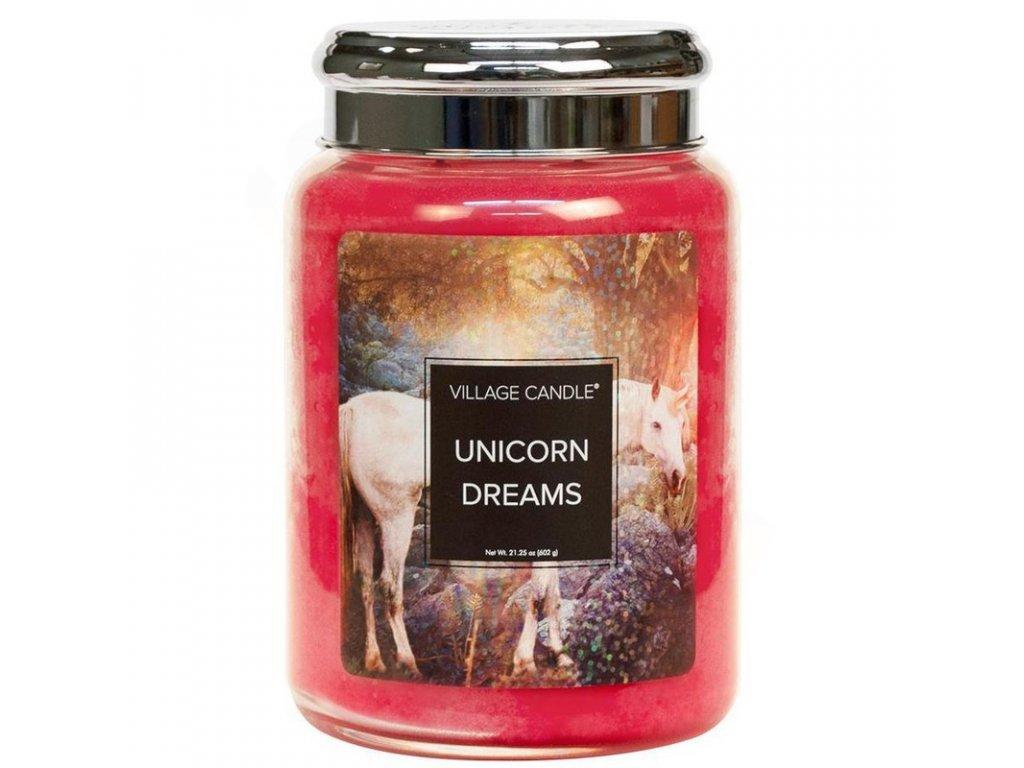vyr 7178velka vonna svicka ve skle village candle unicorn dreams sny jednorozce 800x800