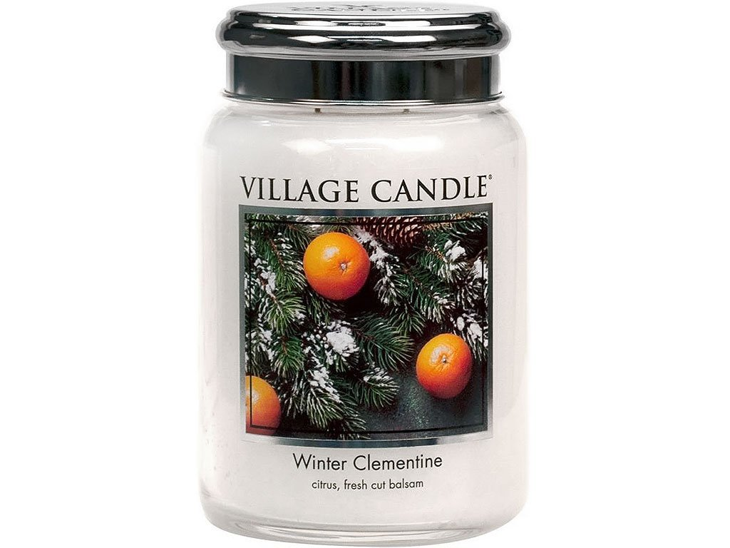 21503 3 village candle winter clementine velka