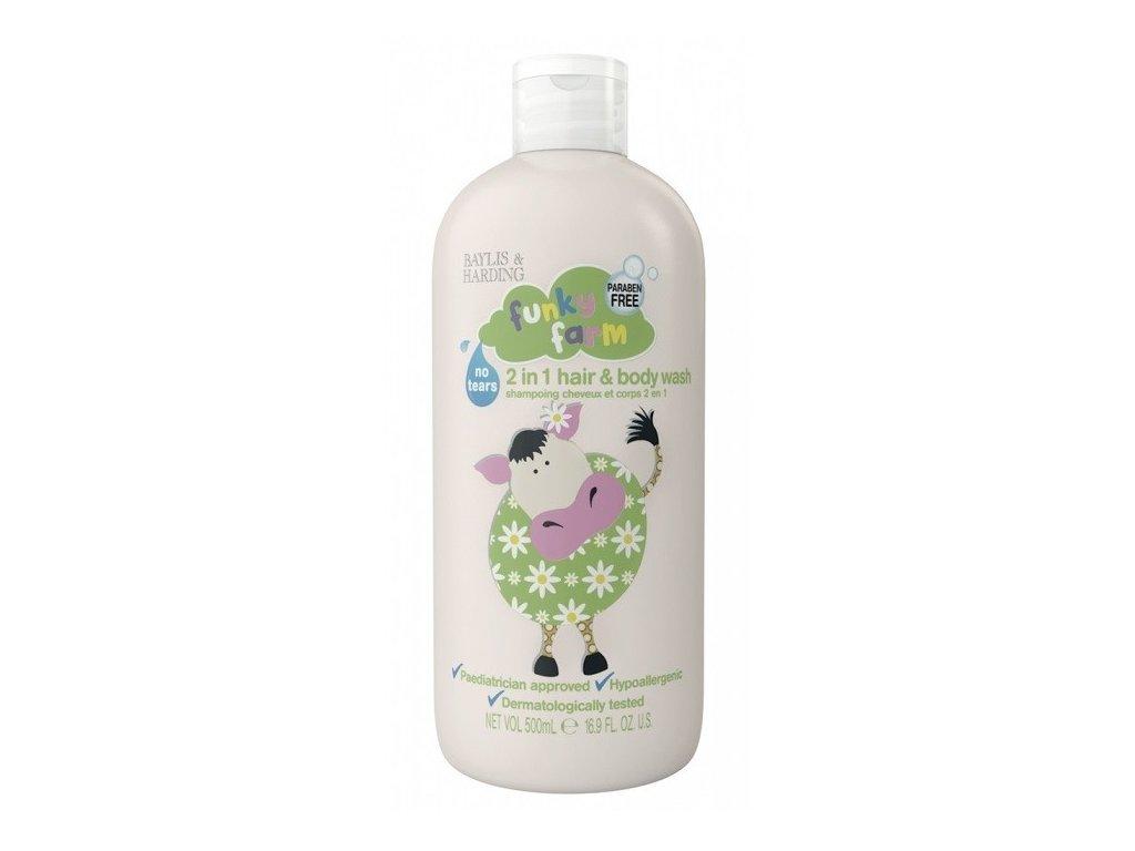 Baylis & Harding Funky Farm dětský sprchový gel a šampon 2v1 500ml