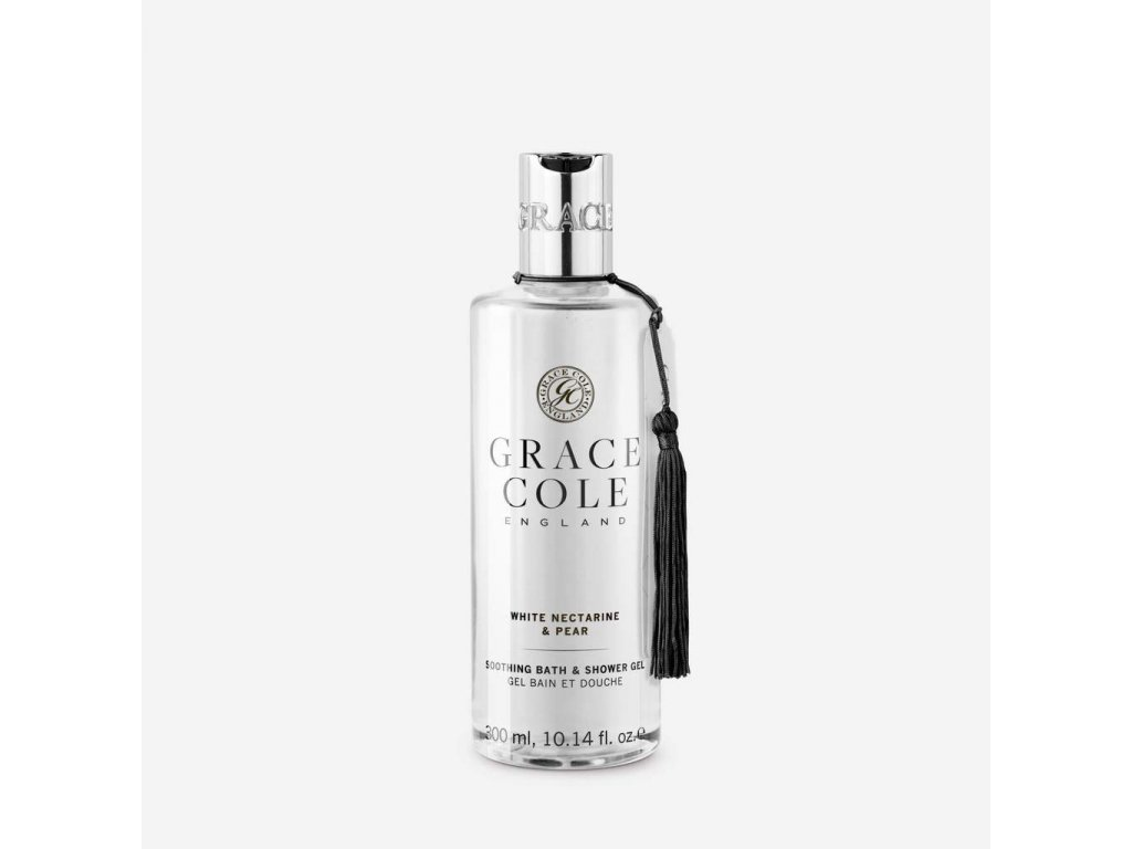 luxury bath and shower gel in white nectarine and pear made in england by grace cole 1024x1024