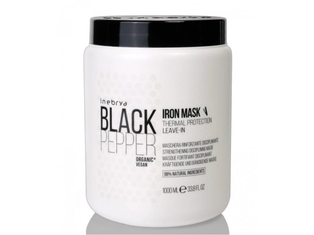 Inebrya Black Pepper Iron leave-in mask thermal protection 1000ml organic maska na narušené vlasy