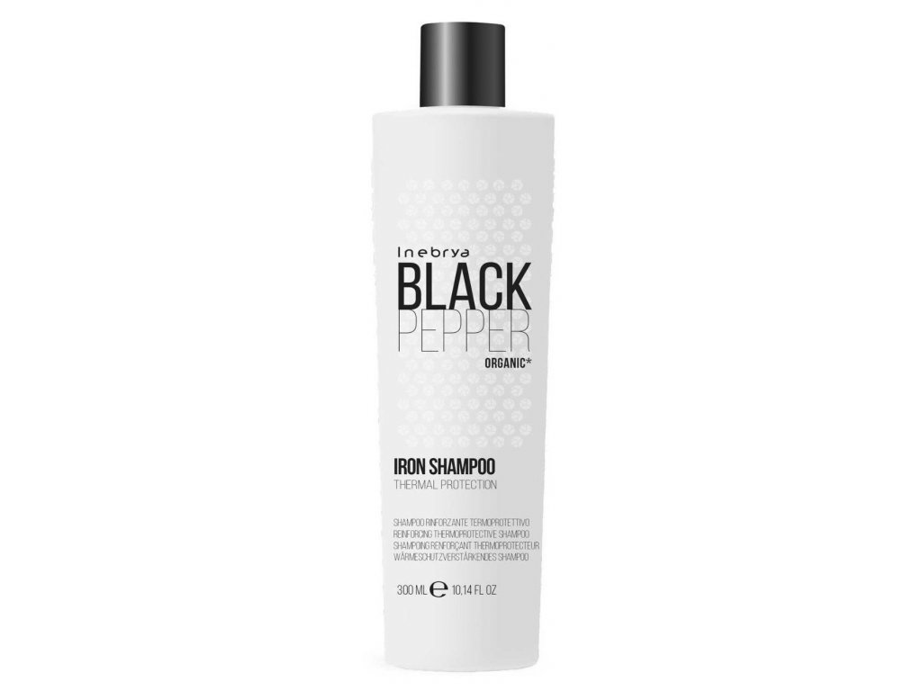 Inebrya Black Pepper Iron thermal protection shampoo 300ml organic šampon na narušené vlasy