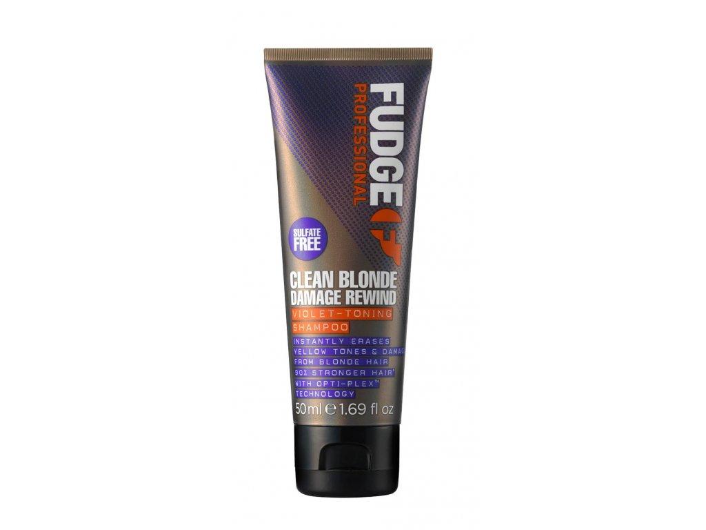 FUDGE Clean Blonde Damage rewind Violet toning shampoo 50ml šampon proti žlutavým odstínům