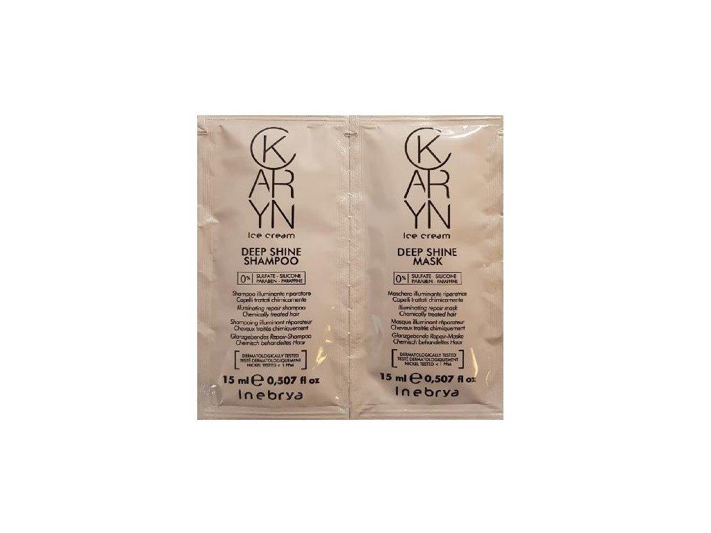 Inebrya Karyn Deep Shine 15ml shampoo a 15ml conditioner regenerace pro vlasy bez lesku