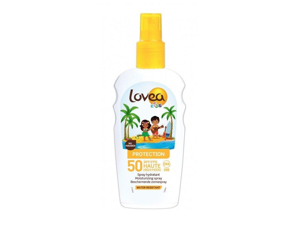 Lovea SUN Kids Protection 50 Spray hydratant 200ml hydratační sprej na opalování voděodolný vhodný pro děti