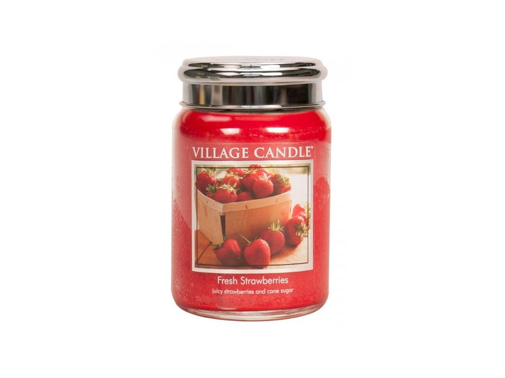 village candle vonna svicka ve skle cerstve jahody fresh strawberry 26oz