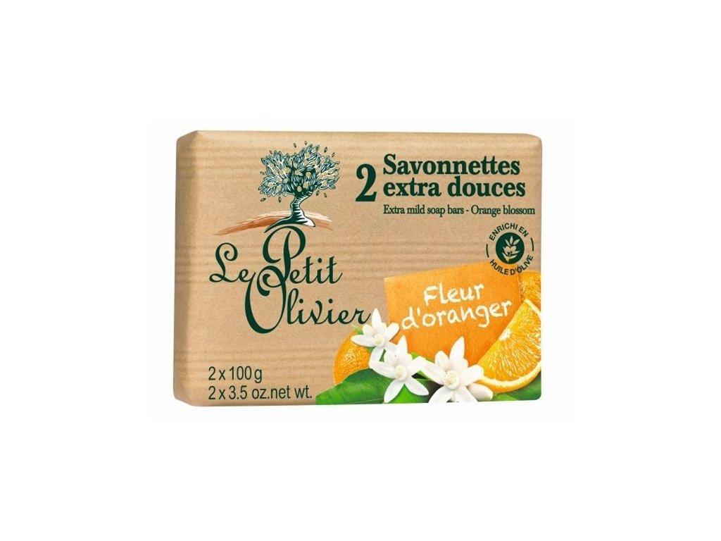 Le Petit Olivier extra jemné mýdlo Pomerančový květ 2x100g