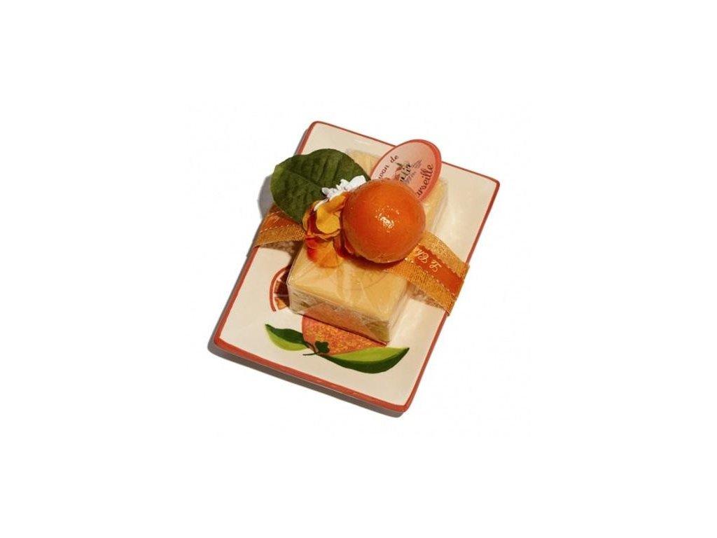 Le Chatelard keramická mýdlenka s mýdlem Pomeranč a grep 100g