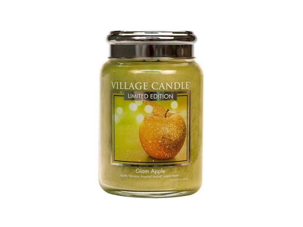 Village Candle vonná svíčka ve skle Zářivé jablko - Glam Apple 602g