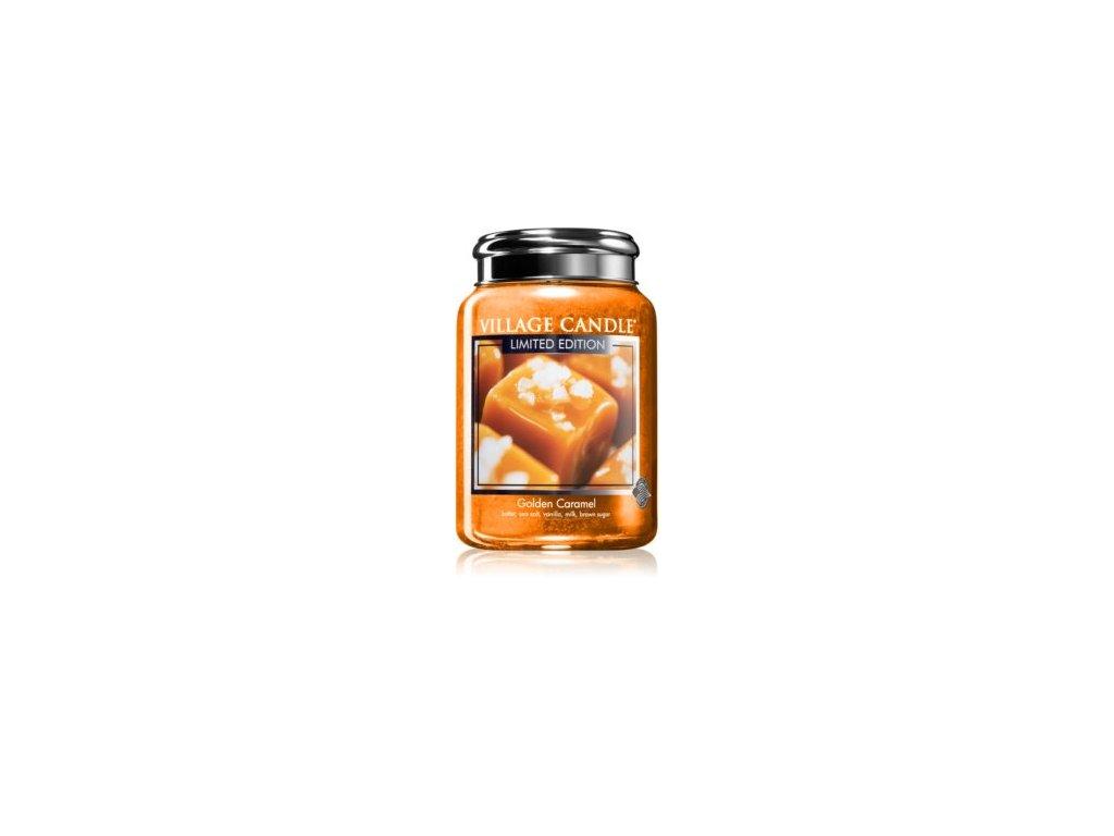Village Candle Golden Caramel 602g vonná svíčka ve skle s vůní másla, třtinového cukru a karamelu