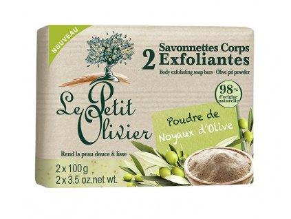 Le Petit Olivier Soft peeling soap 2x100g jemné peelingové mýdlo Oliva