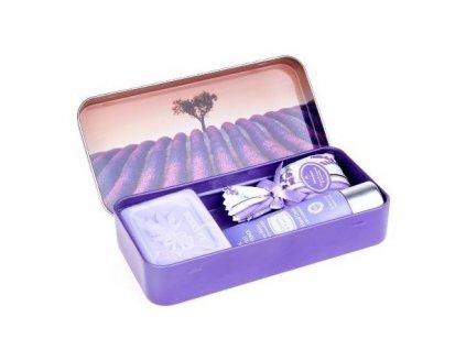 Esprit Provence mýdlo+krém na ruce+pytlíček levandule v plechu s motivem Stromu a levandulového lánu