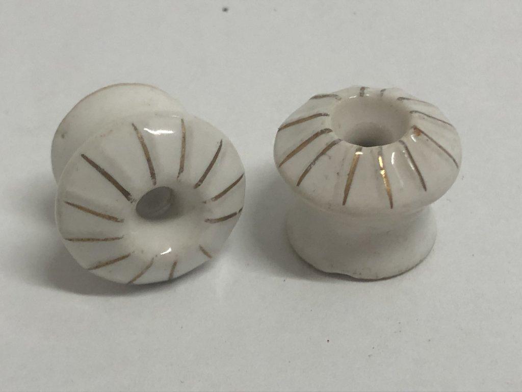 porcelánový úchyt - se zlatým zdobením