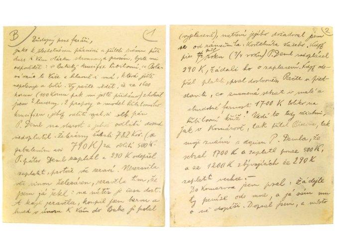 František Bílek - dopis faráři Josefu Ševčíkovi