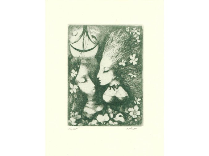 Dvě dívčí hlavy v květech s loďičkou