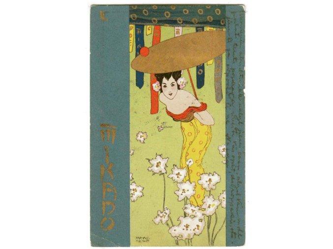 Japonka se zlatým slunečníkem