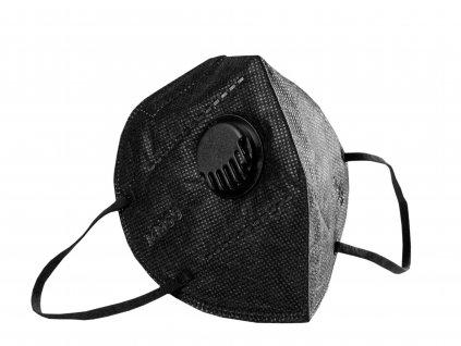 Respirátor FFP2 - černý s výdechovým ventilem