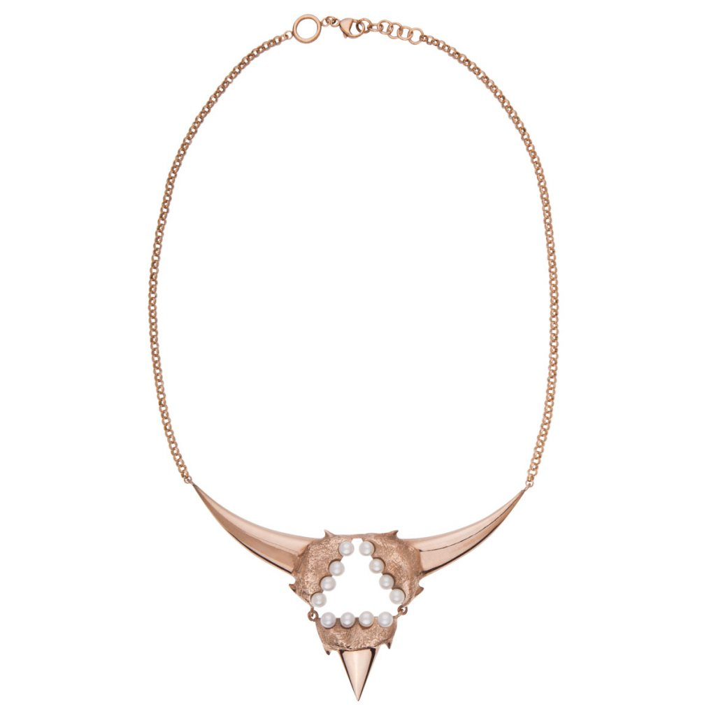 Triangle pearl necklace-gold