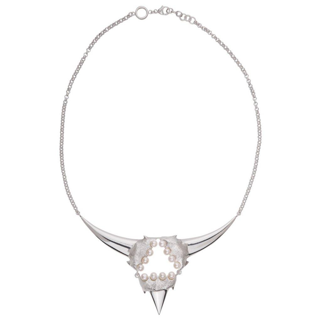 Triangle pearl necklace-silver