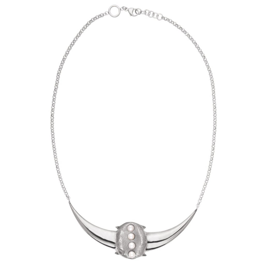 Crescent pearl necklace-silver