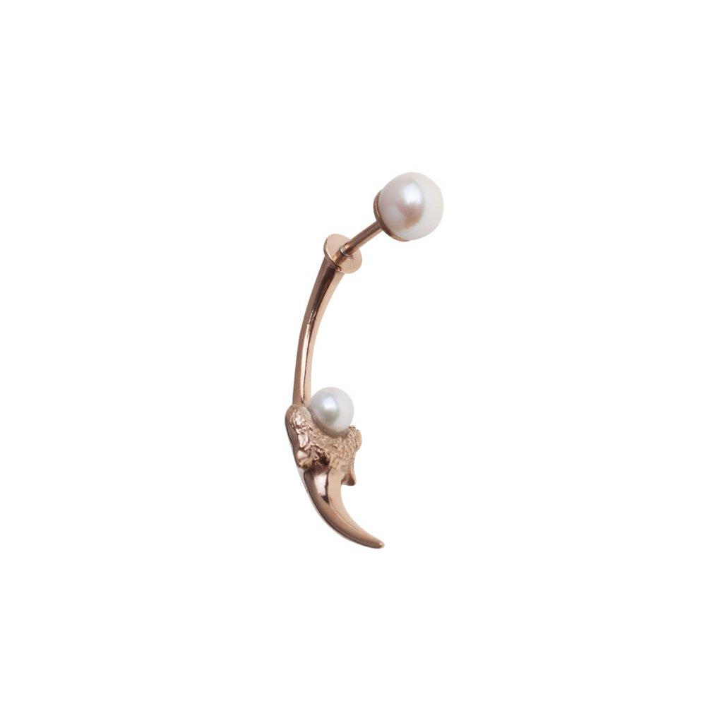 Blacktip pearl earring-gold