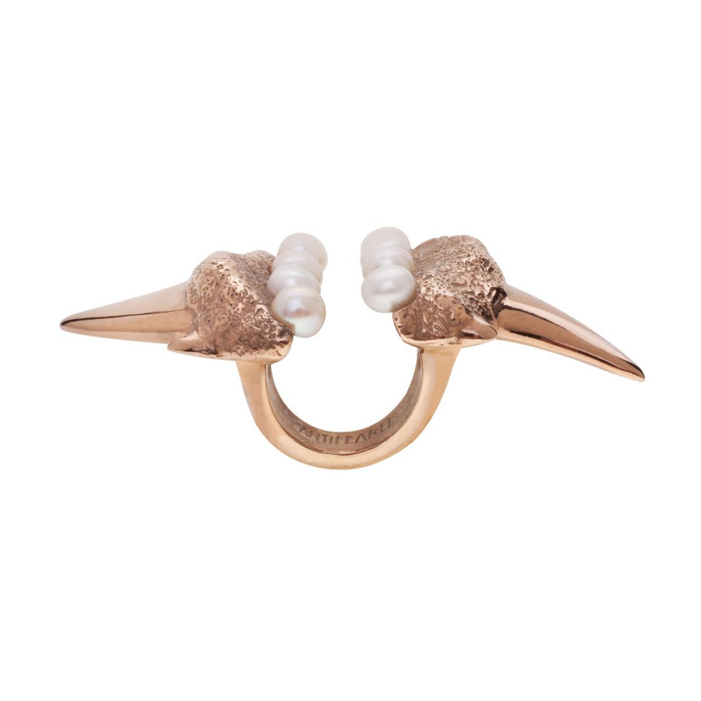 Megalodon pearl ring-gold