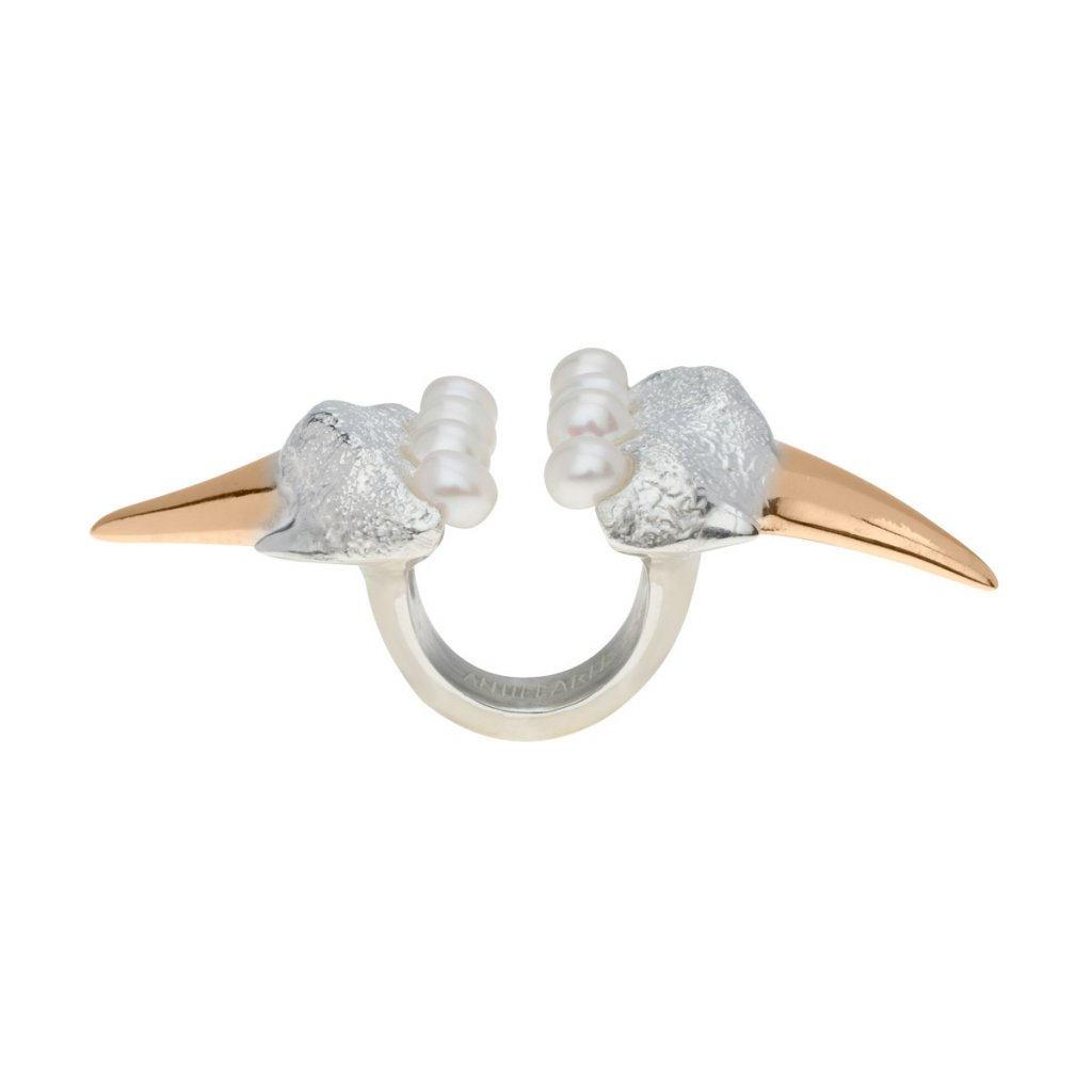Megalodon pearl ring-silver/gold