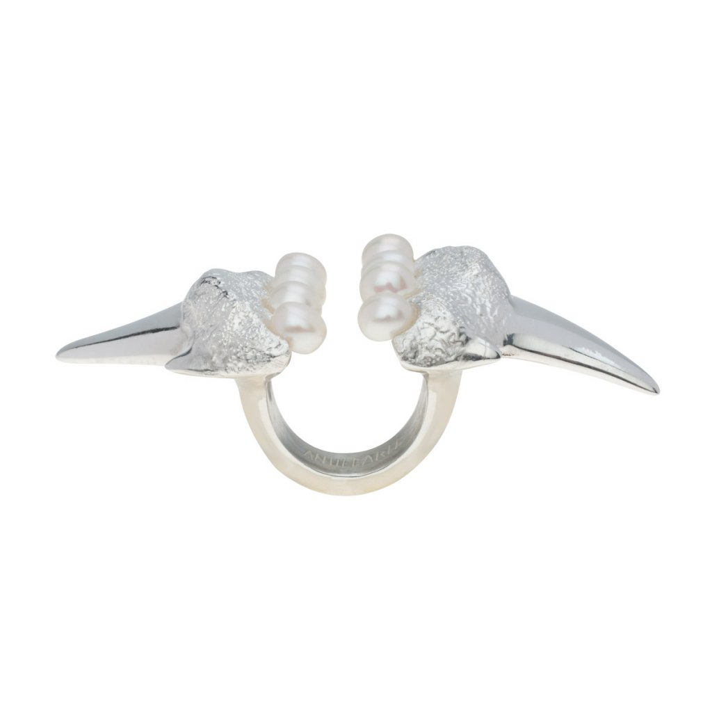 Megalodon pearl ring-silver