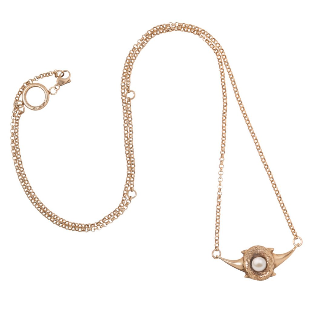 Zambezi chain pearl necklace-gold