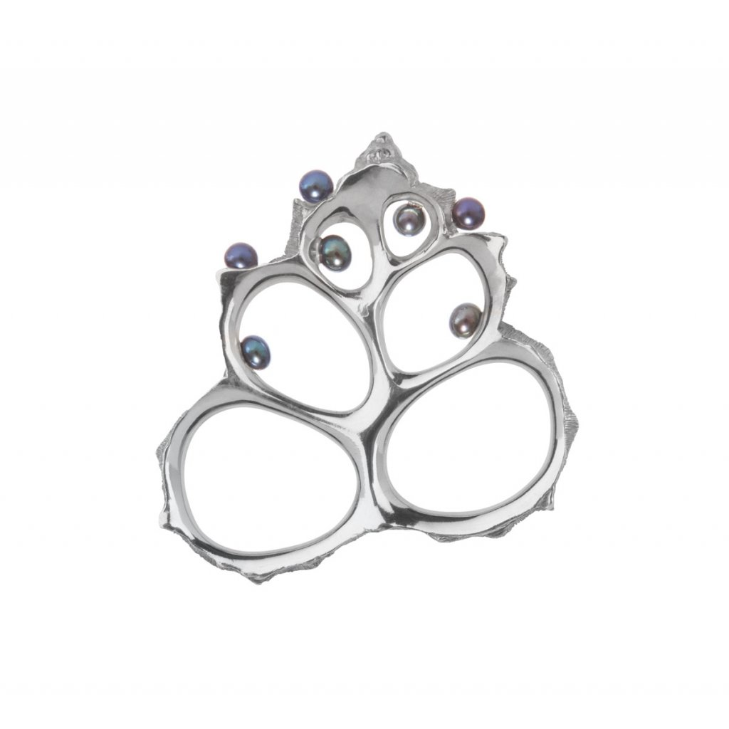 Coral pearl ring/pendant-silver