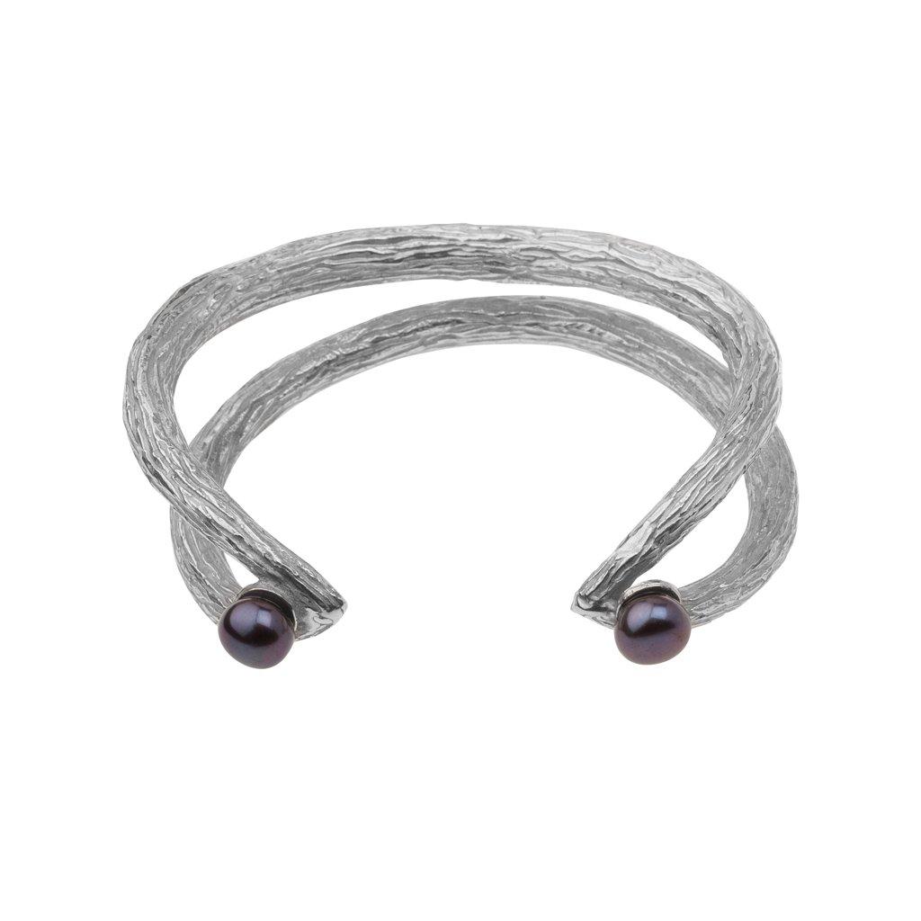 Tip pearl bracelet-silver