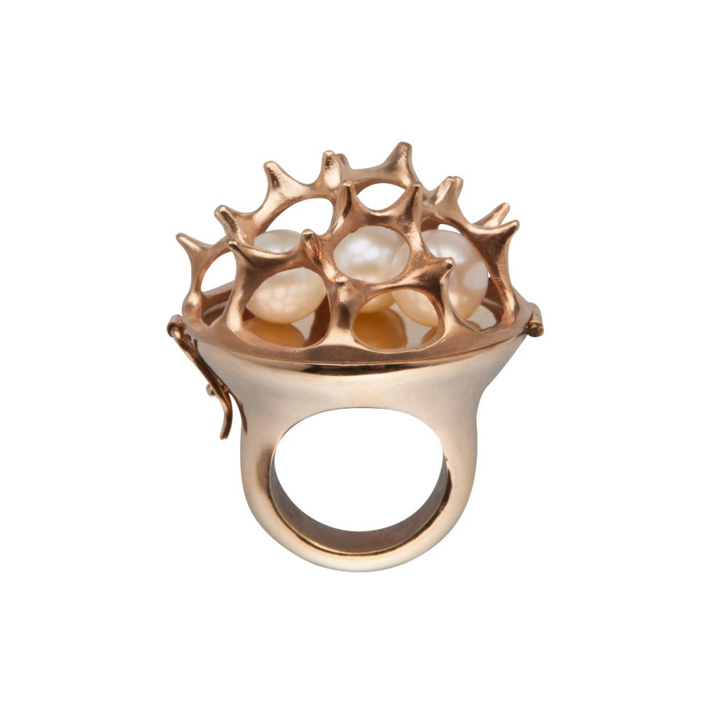 Sea urchin pearl opening ring - gold-plated silver