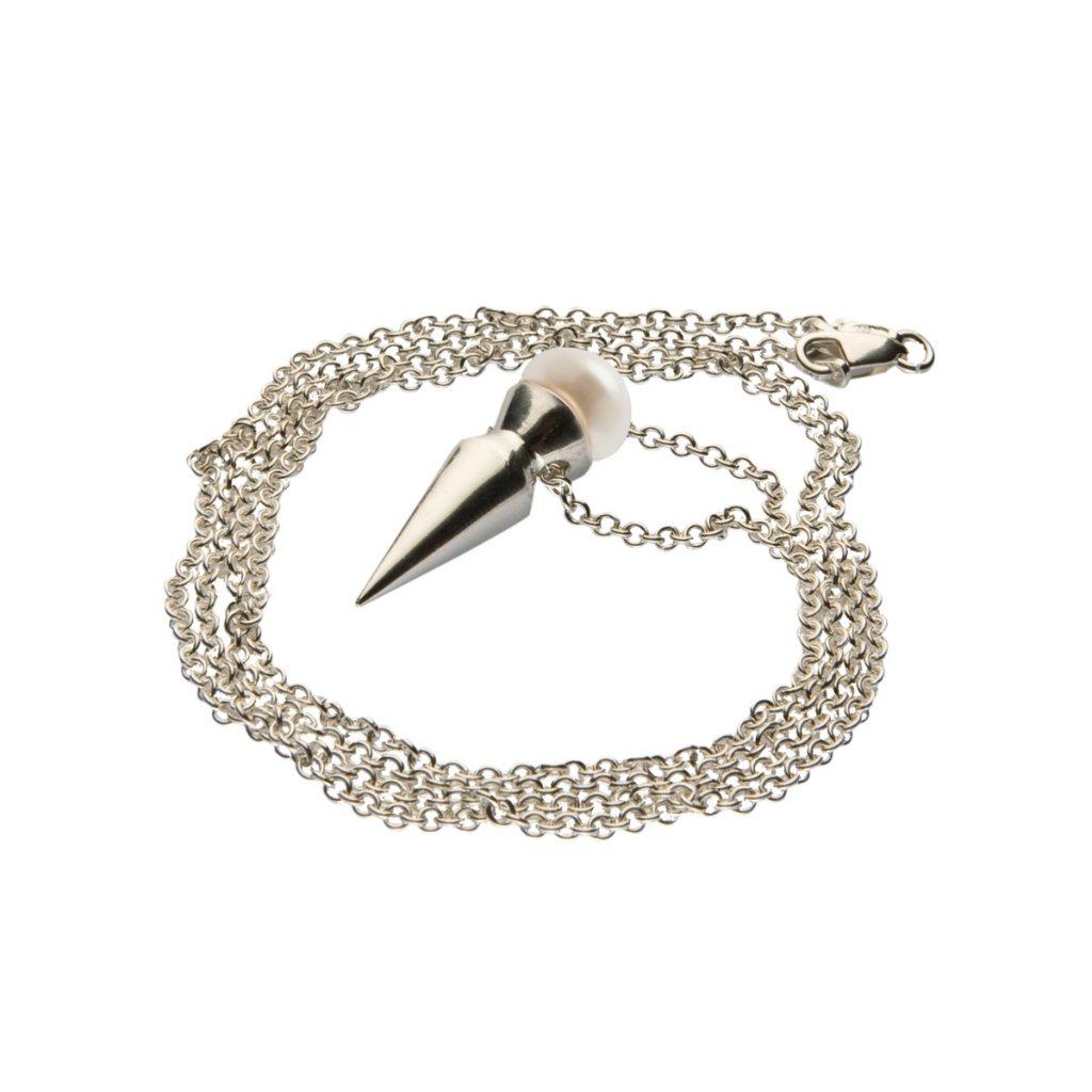 Spike pearl pendant-silver