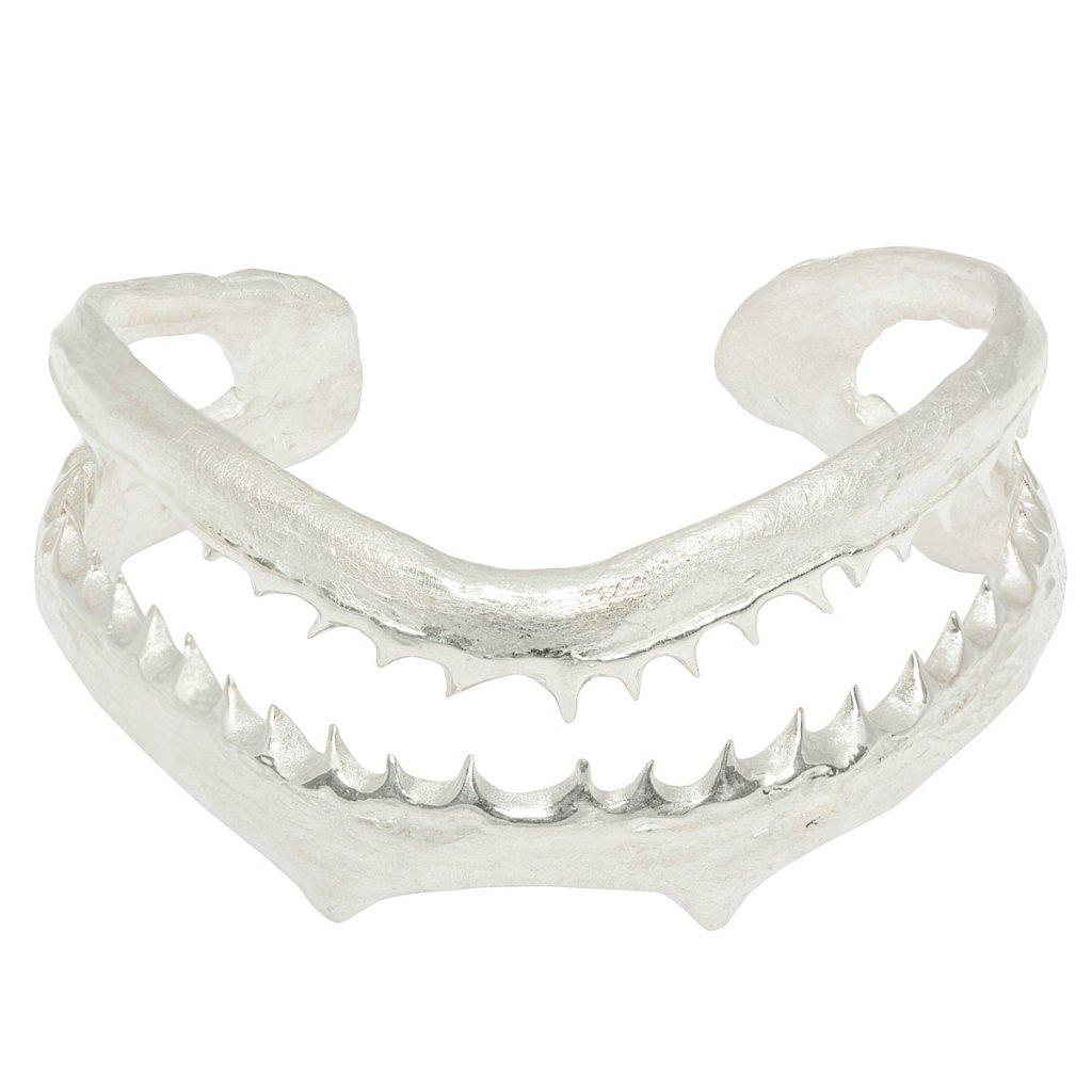 Jaws double pearl bracelet - silver