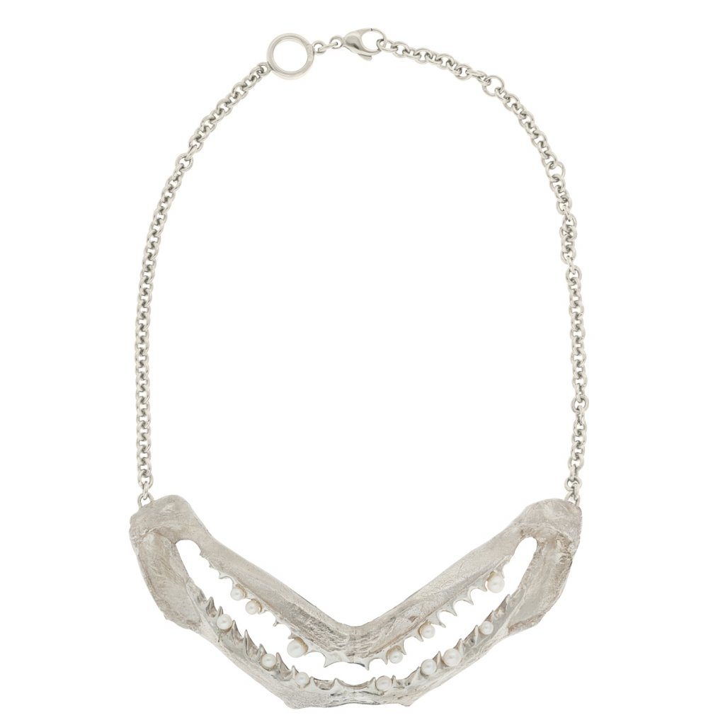 Jaws multi pearl necklace - silver