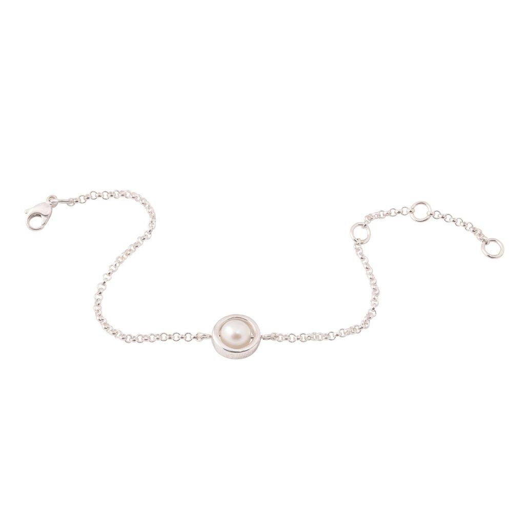 Circle pearl chain bracelet – silver