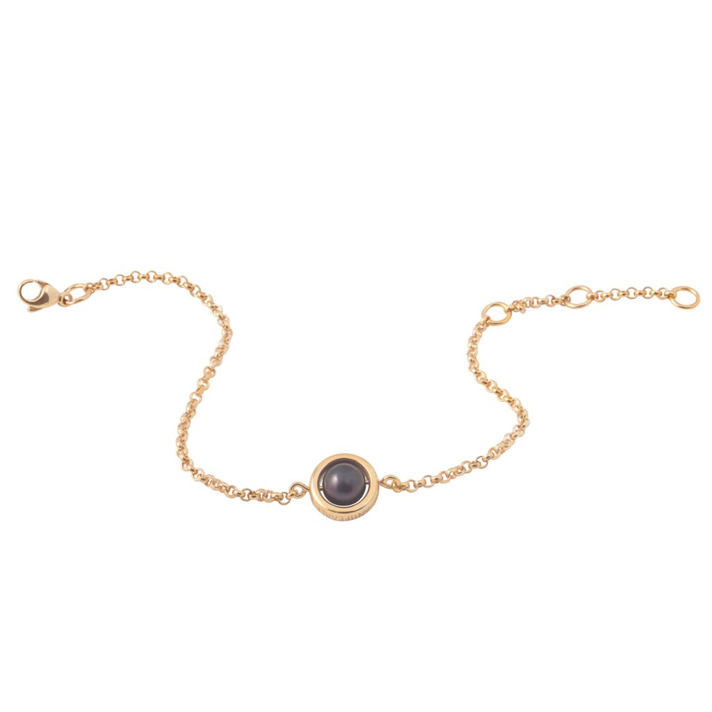 Circle pearl chain bracelet – gold-plated silver