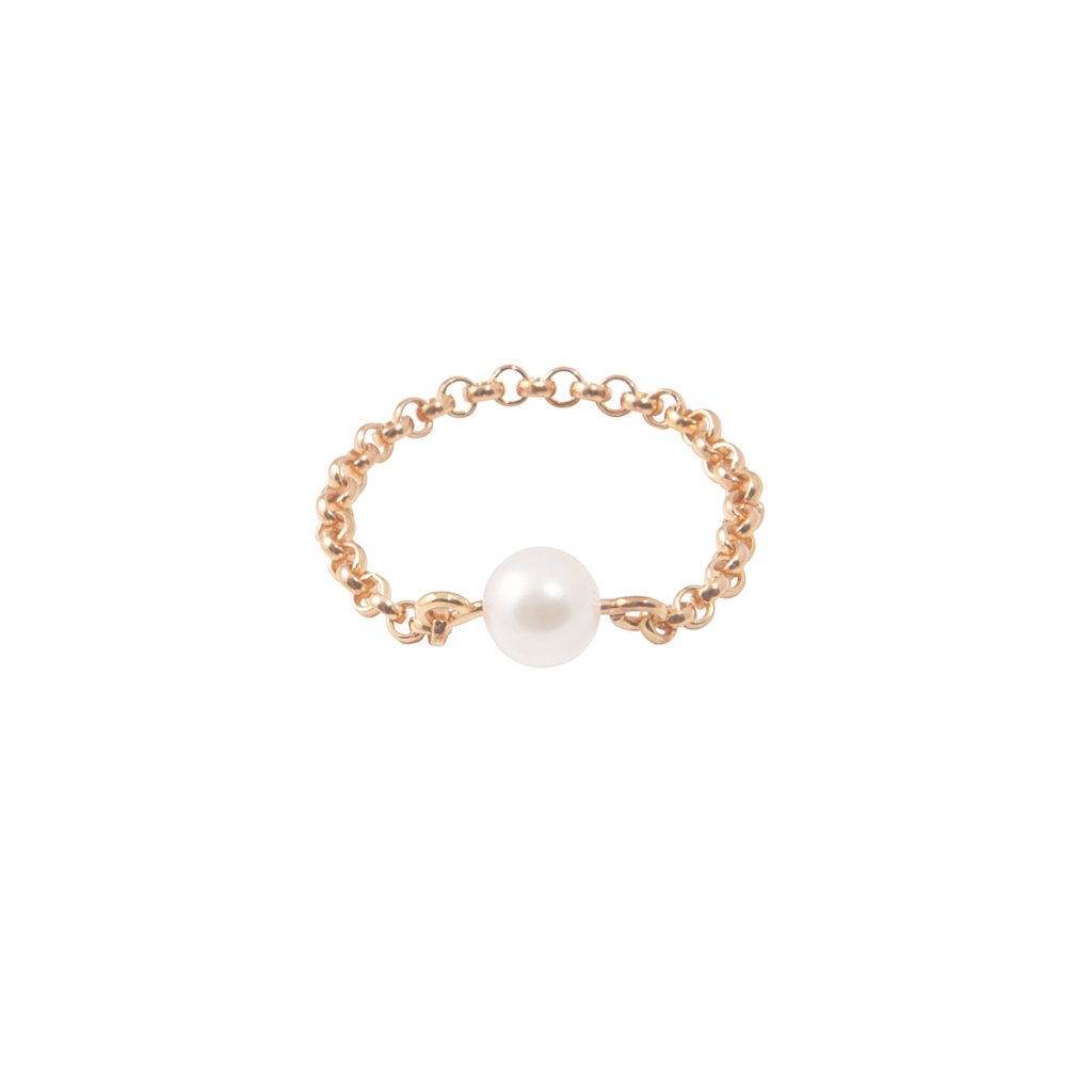 Chain pearl ring - gold-plated silver