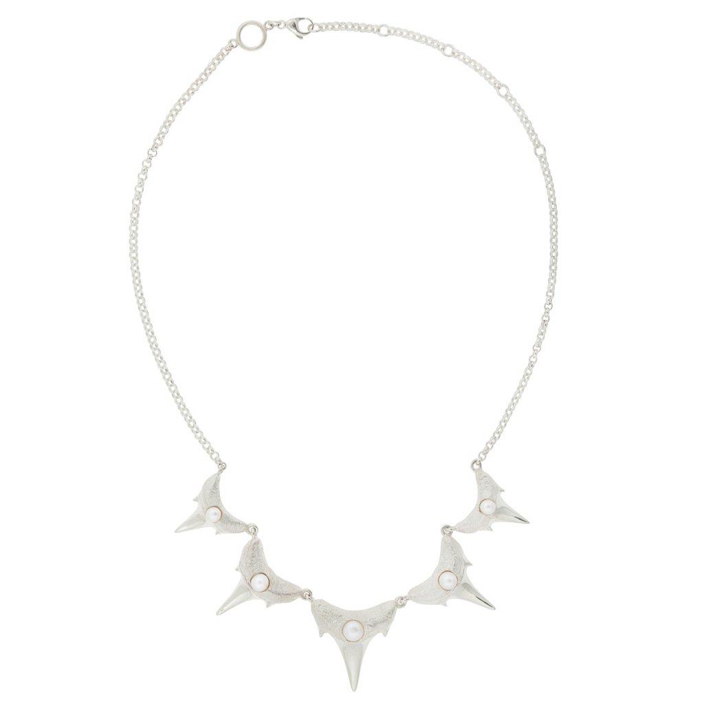 Shark teeth necklace M - silver