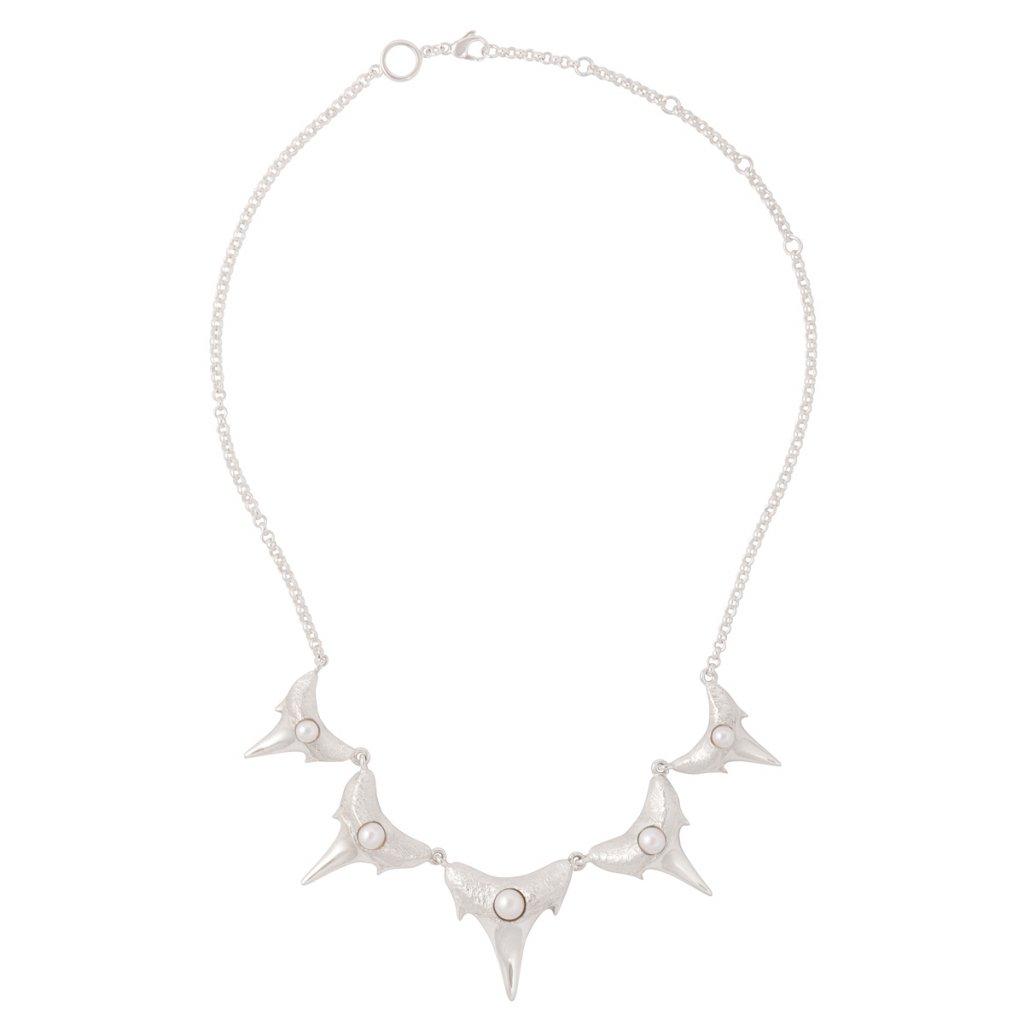 Shark teeth necklace L - silver