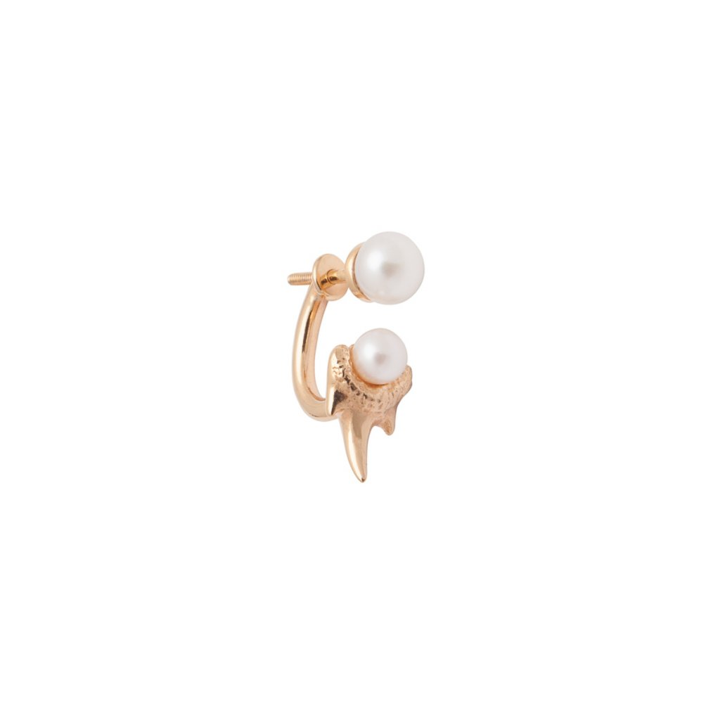 Mini double pearl fang earring - gold-plated silver