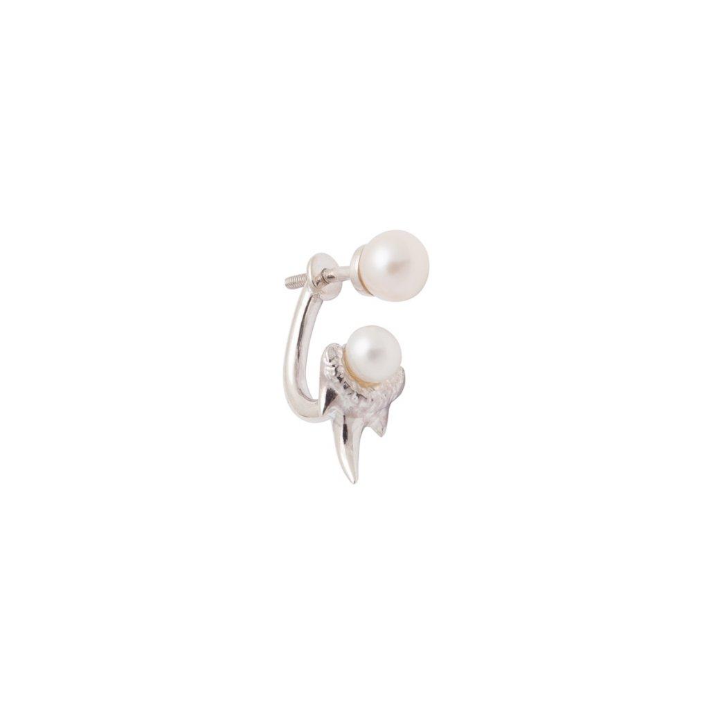 Mini double pearl fang earring - silver