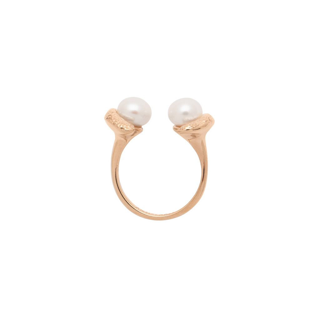 Mini double pearl ring - gold-plated silver