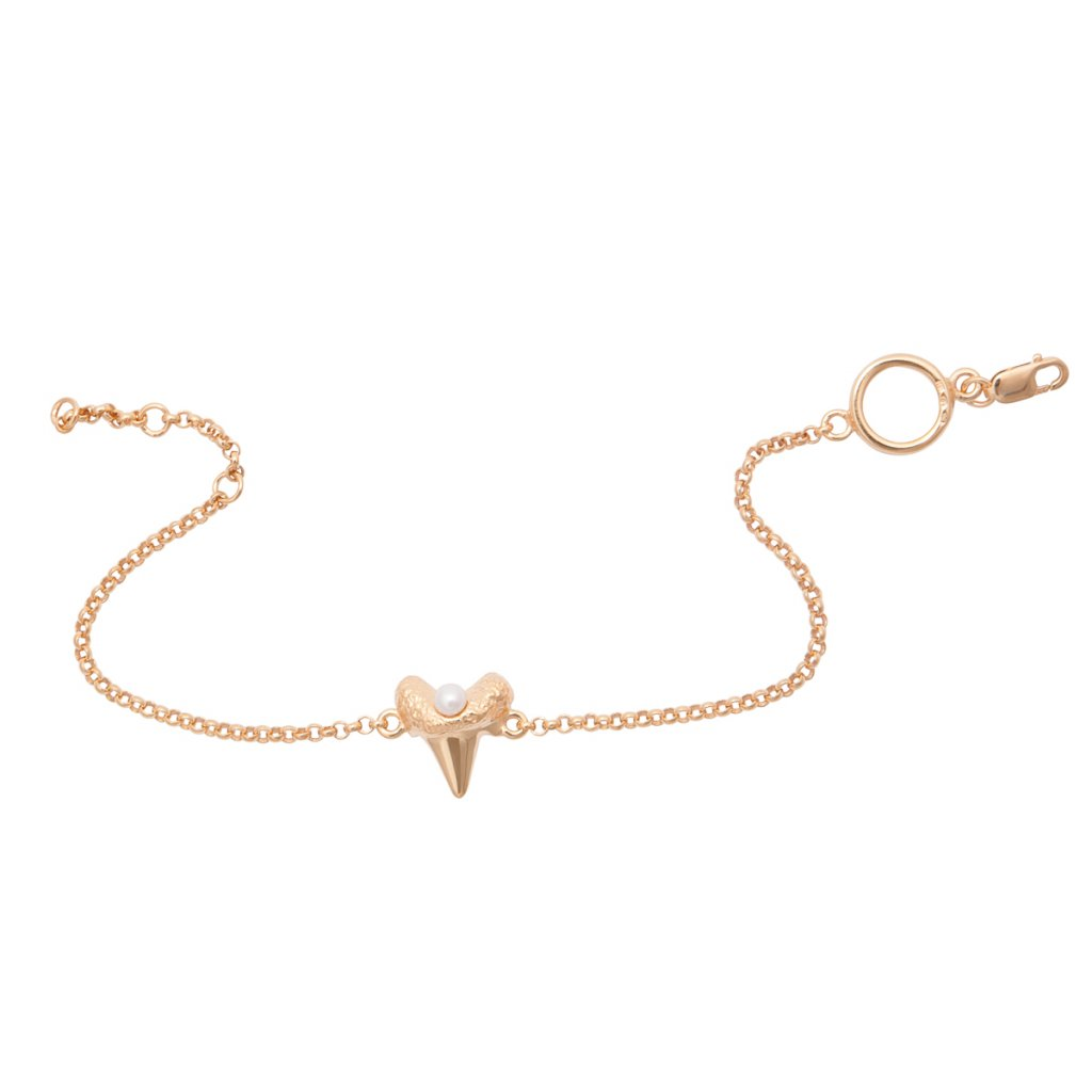 Mini shark tooth heart bracelet - gold-plated silver