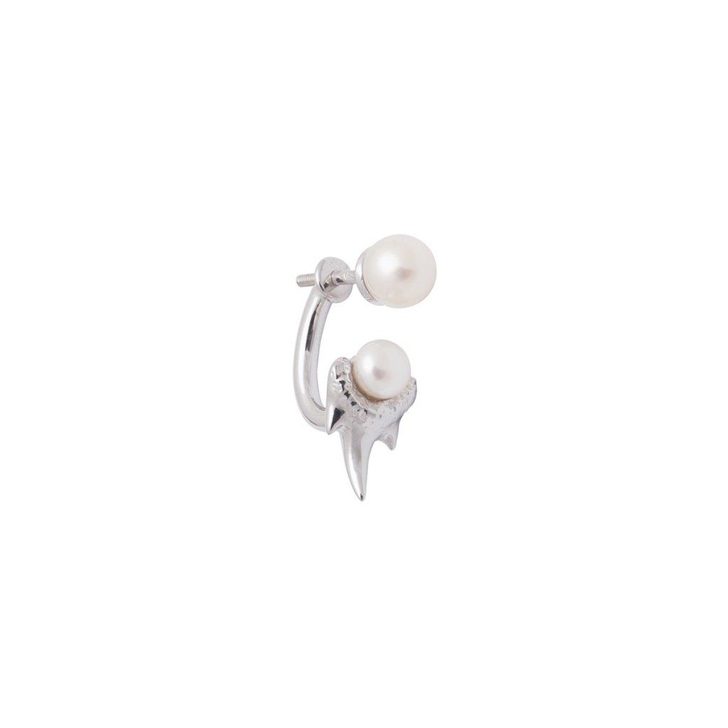 Mini double pearl fang earring - 14kt white gold