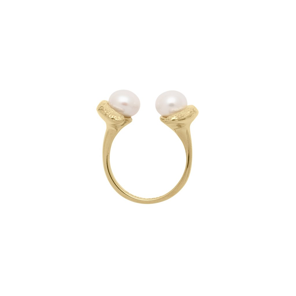 Mini double pearl ring - 14kt yellow gold
