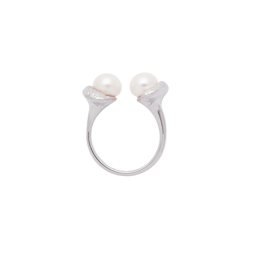 Mini double pearl ring - 14kt white gold