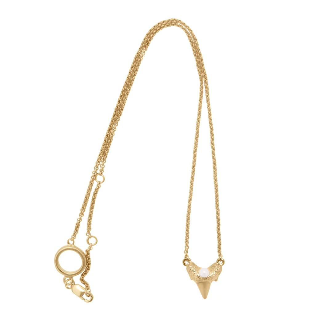 Mini shark tooth heart necklace - 14kt yellow gold